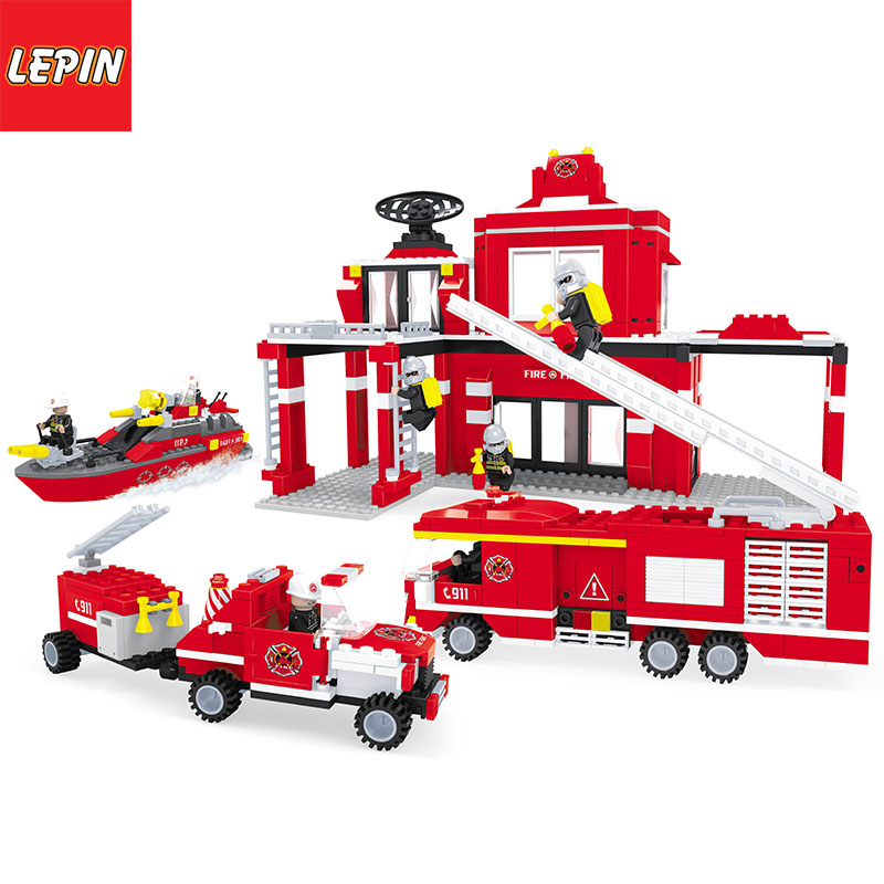 LEPIN 1003W City Fire Station Truck Car Building Blocks Legoed City Police Mini Firefighter Figures DIY Enlighten Bricks Toys For boy
