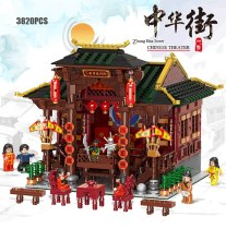 Lepin XB-01020 3820PCS Chinatown China Beijing Opera Theater Moc building Block Dance Actor Figures Bricks