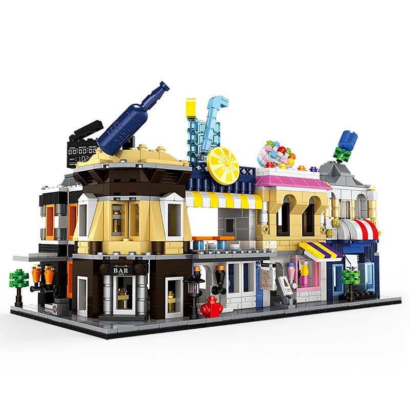 Lepin 2310 Mini Architectural Juice Cake Store Flower Restaurant Cinema Corner bar