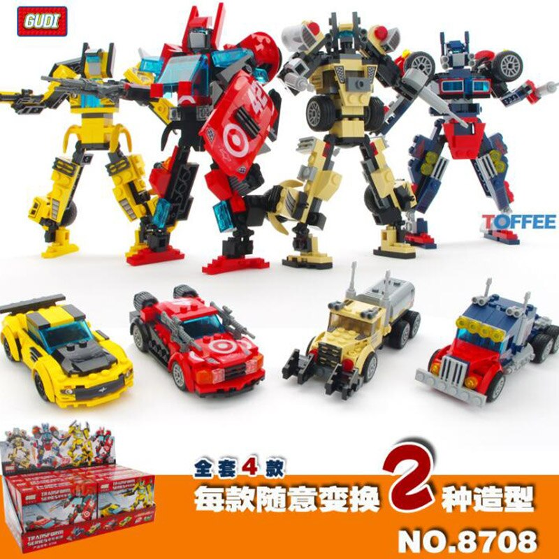 LEPIN 8708 4pcs/lot GUDI Transformation Deformed Car Trailer Tanker Building Block Bricks Toys Compatible With Legoings Movie Block