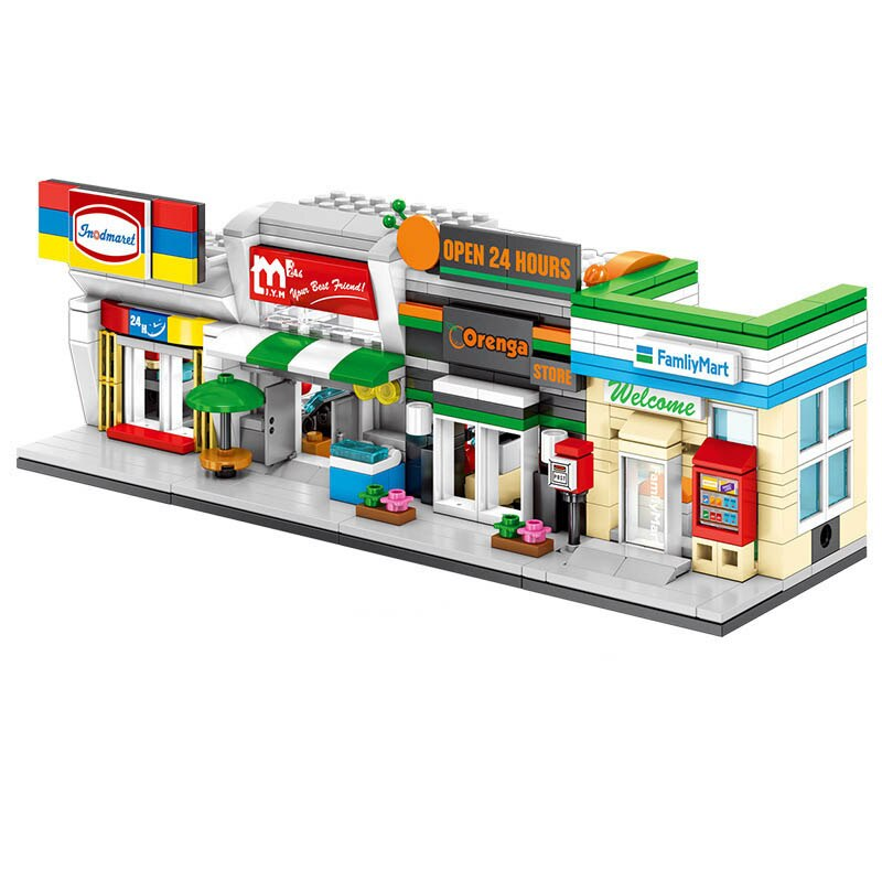Lepin 601026Mini Architectueal Shop Building Bricks Cute Micro Store Model Super Market