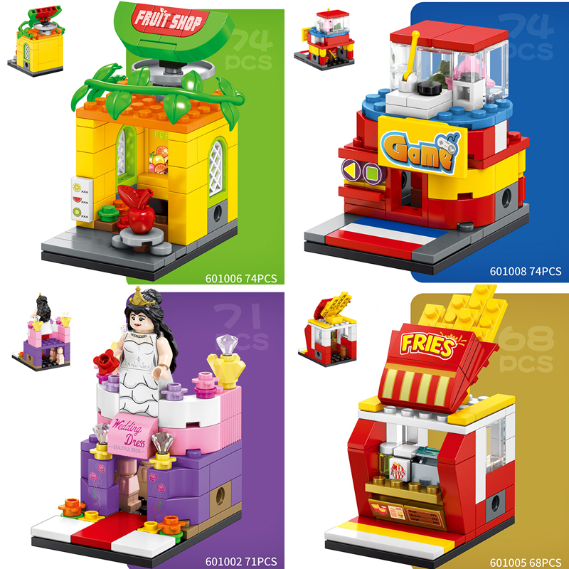 Lepin 601001 Game BBQ Candy Fruit Fries Shop Store 3D Model DIY Mini Blocks Building