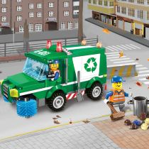 LEPIN 1111 Children Mini Building Block Kit Car City Series Garbage Truck Car Construction Vehicles Kids Toy Gift Assembled Educational Car