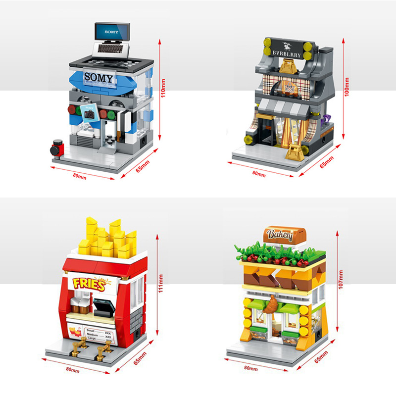 Lepin SD6062 Mini Architectural Hot City Famous Brand Computer Store Bakery French Fries Fashion Men Shop