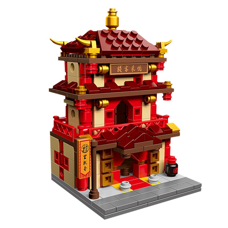 Lepin XB-01101 Chinese wind Chinese street inn drugstore blacksmith shop puzzle pieces small granule toy