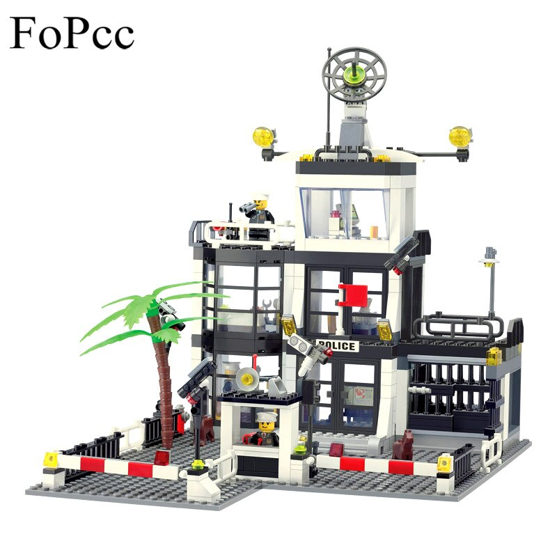 LEPIN 6725 3D City Street Construction Bricks Building Block Police Stations Enlighten Children Toy Compatible With Xmas Gift Legoings