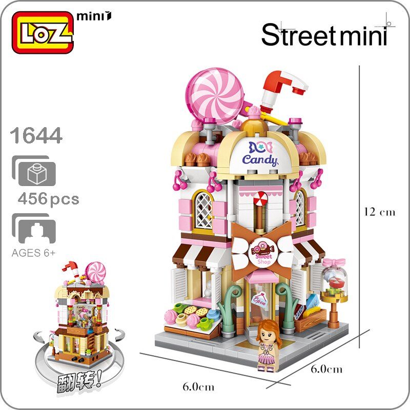 LEPIN 1644  City Street Series Pink Sweet Candy Store Shop 3D Model 456pcs DIY Mini Blocks Bricks Assembly Nano Building Toy Gift