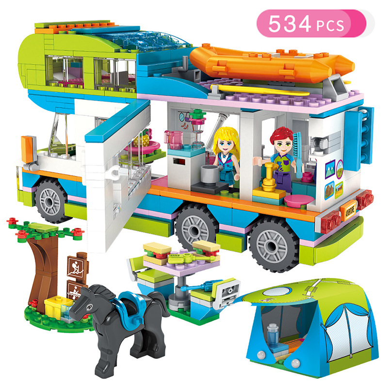 LEPIN 1030 Friends Series Heart Lake City Girls Club Street Building Blocks Pink Cake Cafe Blue Camper Compatible Legoings Friend Toys Gift