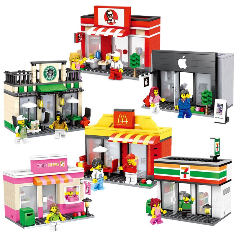 LEPIN 6409  City Mini Street Toy Shop Retail Store 3D Model KFCE McDonald Cafe Apple Miniature Building Block for kids