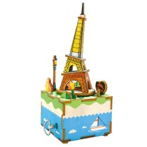 LEPIN 0010 Robotime Wooden Music Box Building Kits Toys DIY Assembly Eiffel Tower Clockwork Boxes 3D Puzzle Model Handmade Toy For Girls