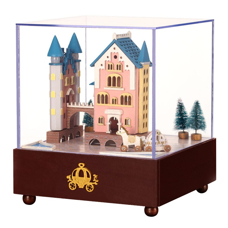 LEPIN 0015 Miniature Wooden Dollhouse Furniture DIY Castle Carriage Doll House Craft Birthday Music Box Gift Puzzle Toy Xmas Gift