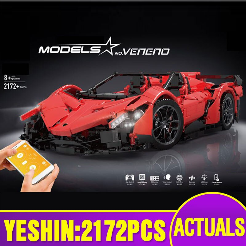 LEPIN 20091 APP Rmote Control Car Compatible With Legoings MOC-10559 Veneno Roadster Set Building Blocks Bricks Car Model Toys