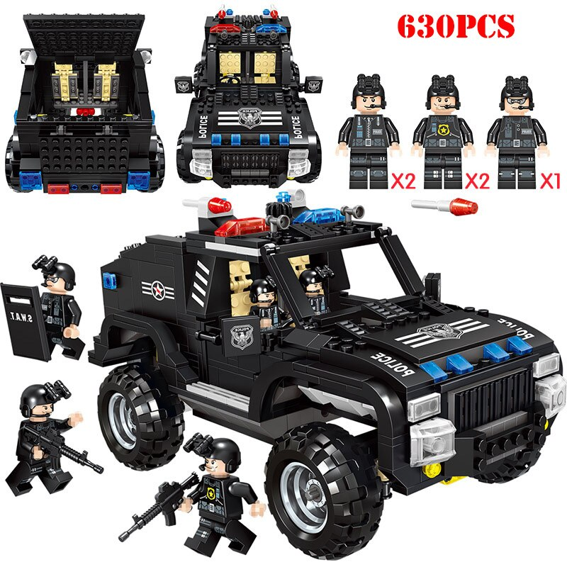 LEPIN 0022 Special Police Riot Armored Vehicle Building Blocks Compatible Legoed City SWAT Weapon Gun Figures Bricks Toys For Children Gift