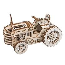2019 New LEPIN 0021 3D Puzzle Assembly Winding Wooden Tractor - LK401 Creative children's toys, gifts for friends, high-end fine decorations