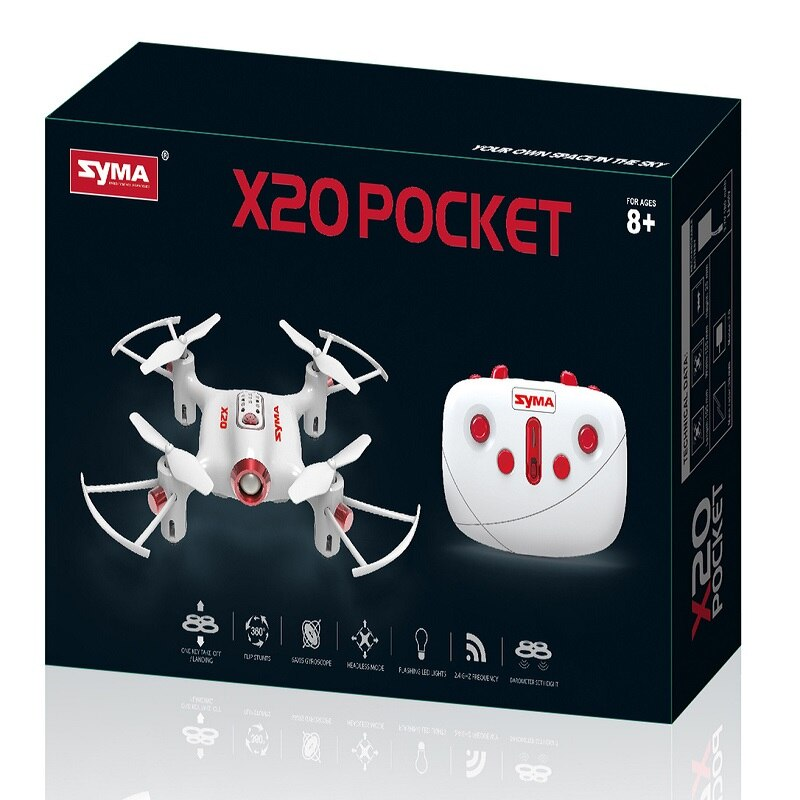 LEPIN 0036 Pocket Drone Syma X20 2.4G 4 Channel Mini RC Quadcopter Aircraft Toy For Boys Headless Mode Altitude Hold Black