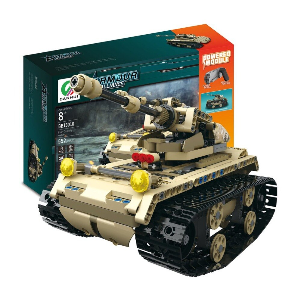 LEPIN 0042 Electric Tank 2.4G 4H USB Charging Building Block Simulated Light Track Tank 552pcs RC Toys Model for Children