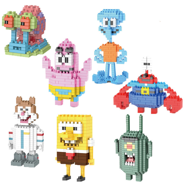Lepin 227-233 Building blocks SpongeBob series toys creative spell inserting blocks