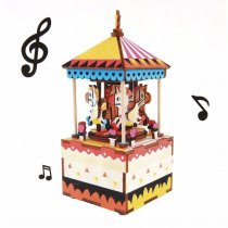 LEPIN 0006 NEW Creative DIY Box with Music 3D Wooden Puzzle Toy Carousel Robot Ferris Wheel Musical Assembly Boxes for Baby Children Gift