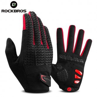 ROCKBROS Touch Screen Men Cycling Gloves Autumn Winter Windproof MTB Bike Bicycle Gloves GEL Pad Shockproof Full Finger Mittens