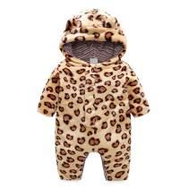 Fashion design newborn winter clothes hooded leopard baby romper