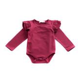 Multicolor cotton girls bodysuit baby ruffle long sleeve romper