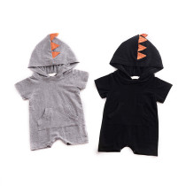 Simple design new infant jumpsuits baby hooded dinosaur baby bodysuit