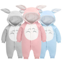 Hooded pure cotton baby winter romper newborn bodysuit baby