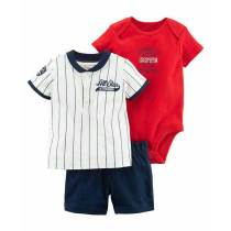 Summer three-piece infant baby boy boutique clothing sets