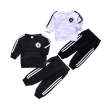 New design long sleeve black white boys kids clothing set