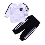 New design long sleeve black white boys kids clothing set