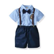 Summer baby boy clothes 2pcs set short-sleeved shirt and suspender short pants