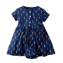 Short sleeve floral printed baby dress frock for baby girl