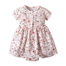 Hot selling baby girl short sleeve floral printed romper dress skirt