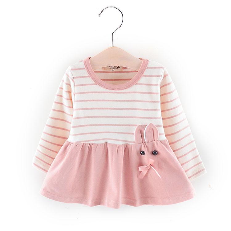 spring long sleeve baby frock cartoon dress for girls