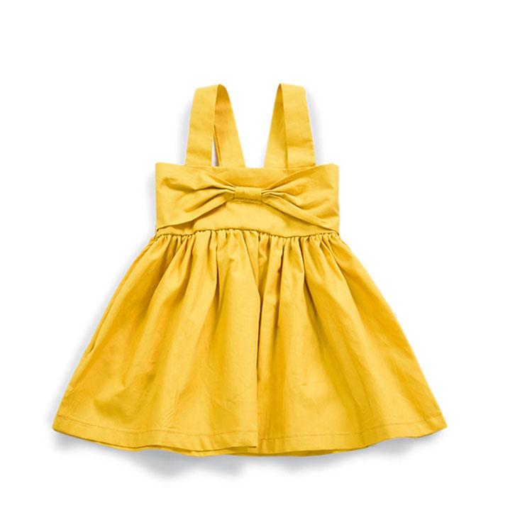 Simple design summer yellow baby girls backless dress