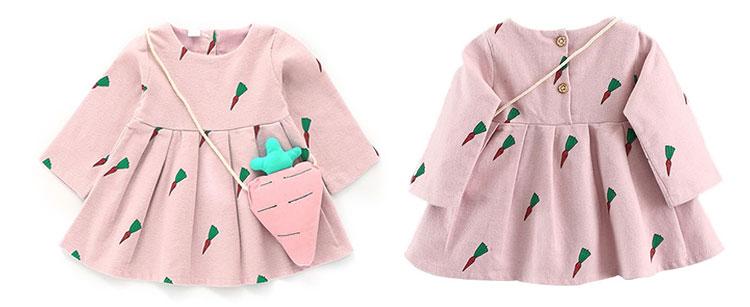 Cute cartoon print long sleeve baby girls dress