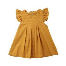 New design summer children little girls solid color dresses