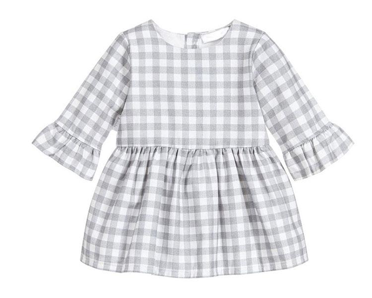 kids grid frock, girls autumn dress