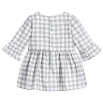 Long sleeve girls autumn dress kids grid frock