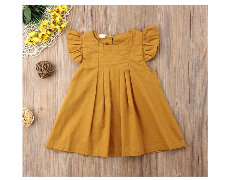 New design summer children little girls solid color dresses