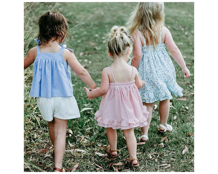 Trendy shoulder-straps girls skirt summer children frocks
