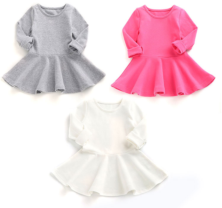 long sleeve girls dresses, pure color kids frocks, pure color long sleeve girls dresses