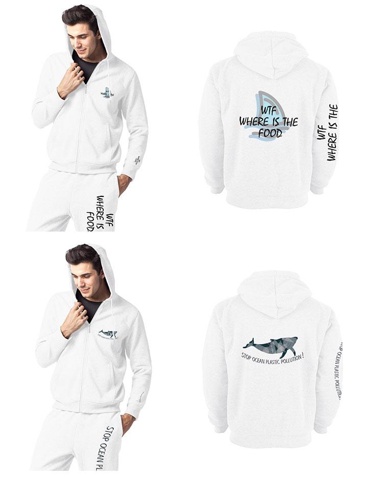 One piece custom men zipper hoodies sweatshirts