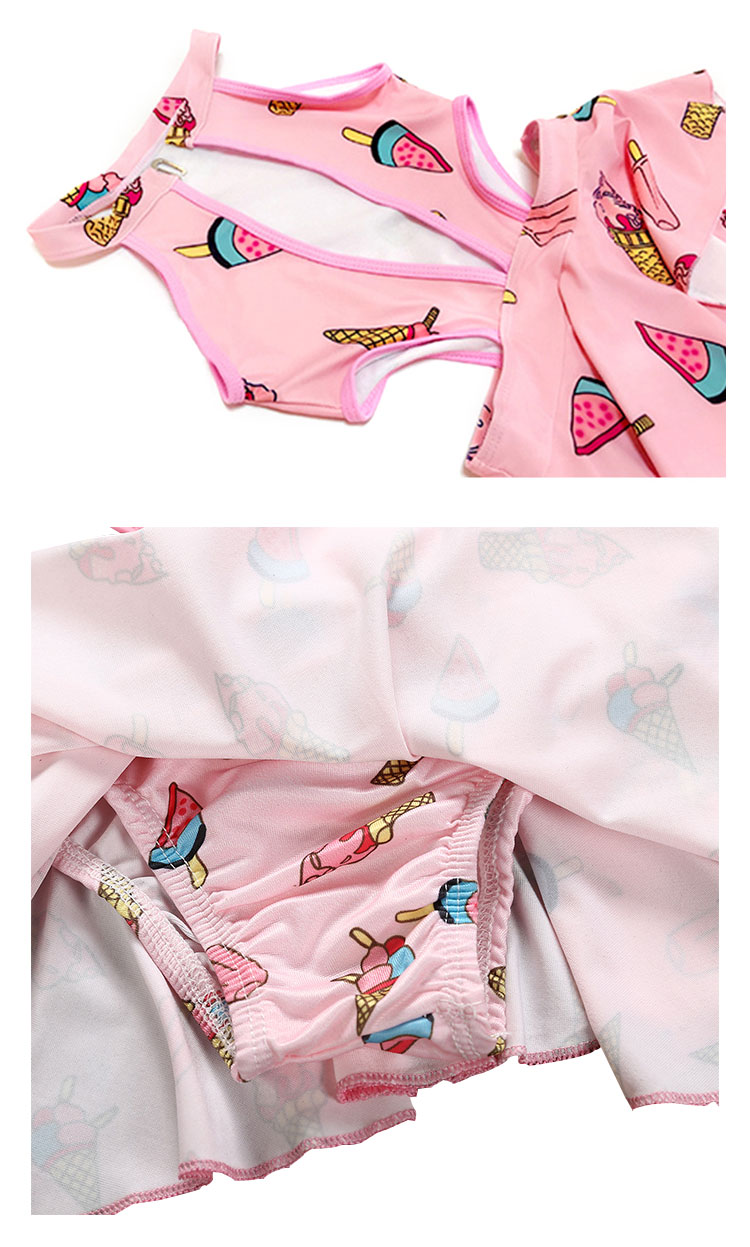 one-piece swimsuit ice cream printed kids girls swimwear