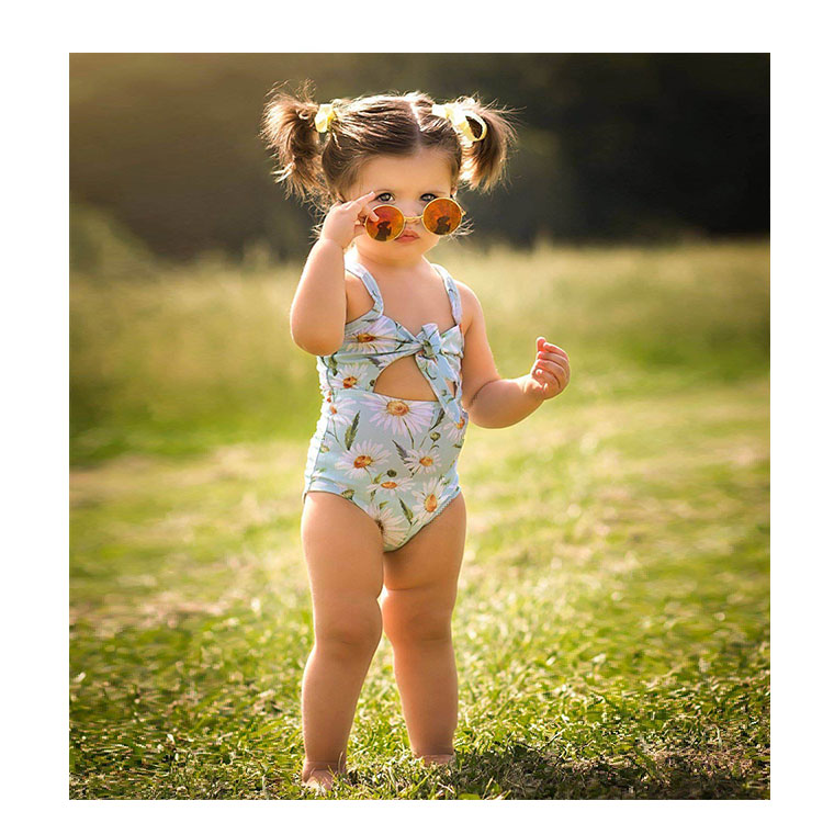 floral printed kids one-piece swimwear little girl swimsuit