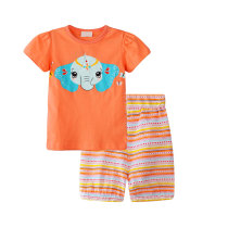 Summer Short Sleeve Baby Clothes Set Printed Girls Clothing