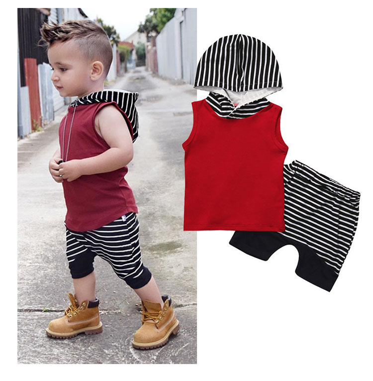 Hot Selling Summer Sleeveless Baby Boy Clothing Sets