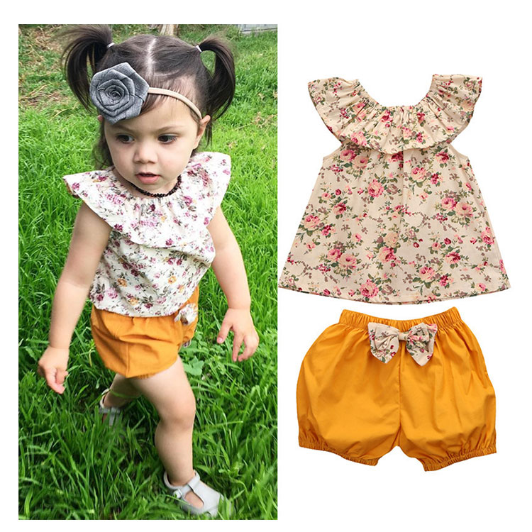 Summer Baby Clothes Lovely Floral Girls Clothing Set