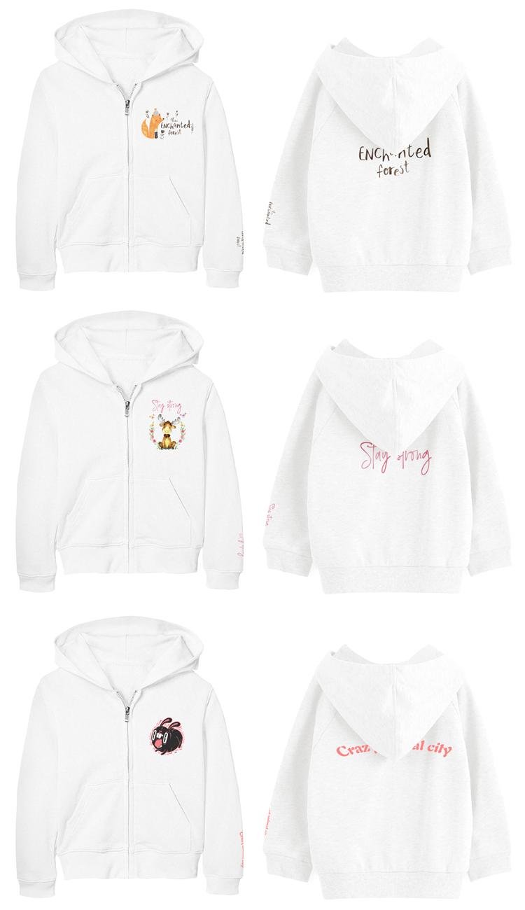 Girls Clothes OEM Design Kids Zipper Hoodie Custom Logo