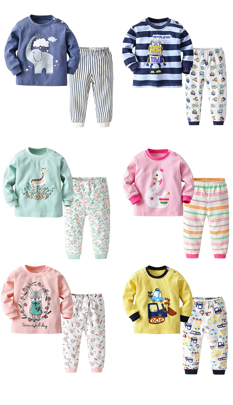 Fashion Printed Children Sleepwear Soft Cotton Kids Pajamas Sets